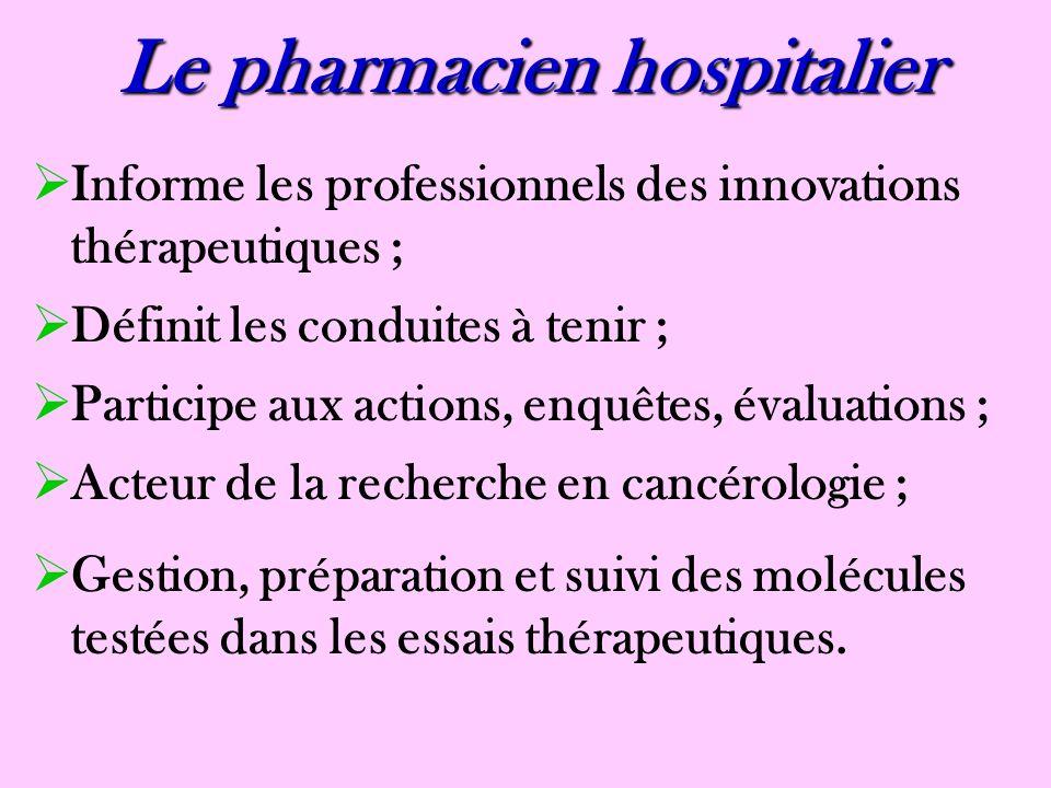 Le pharmacien officinal Informe les patients ; Rôle dans la prévention et dans laccès au dépistage ; Interface entre le prescripteur et le patient, entre lhôpital et la ville ; Lieu découte, de soutien, de conseils.