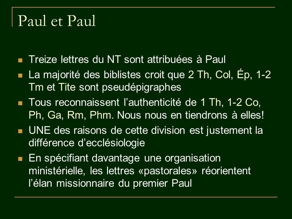 La mission paulinienne Par lannonce de la bonne nouvelle, Paul «engendre» des croyants (1 Th 2,7-8; 1 Co 3,1-4; Phm 10), qui forment des communautés, parce que le rassemblement fait partie du salut offert Dans la perspective dune fin de lhistoire, ces Églises, ces Assemblées, sont les embryons du grand rendez-vous de lhumanité avec Dieu (1 Co 15) Paul ne gère pas la vie des communautés, mais les laisse sorganiser selon les charismes reçus de lEsprit (1 Co 12 – 14)