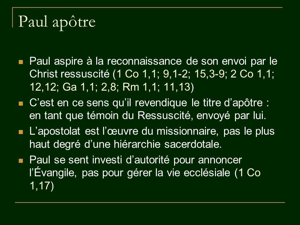Paul ministre : intendant, serviteur, esclave 1 Co 3,5; 4,1-2; 9,19 2 Co 3,6; 4,1.5; 5,18; 6,3-4; 8,19-20; 9,12; 11,8.23 Ga 1,10 Rm 1,1; 11,13; 15,25 Ph 1,1 Phm 1