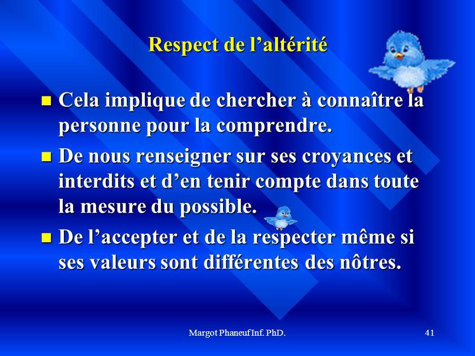 Margot Phaneuf Inf. PhD.42 Principe de respect de lintégrité de la personne et de son inviolabilité