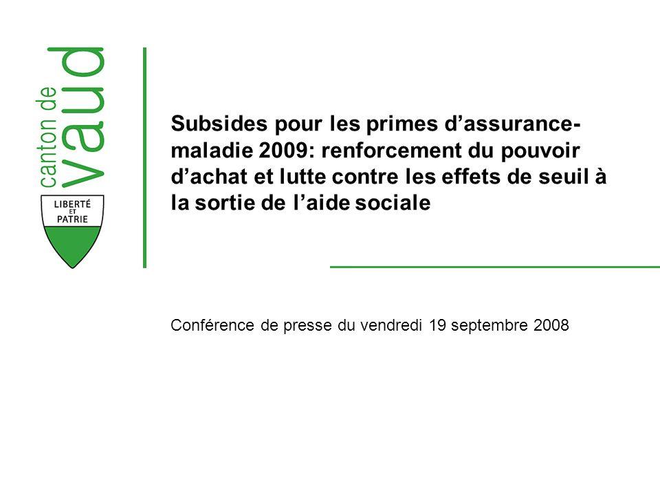 2 Subsides pour les primes dassurance- maladie 2009 Budget pour 2009 364.4 millions (Budget 2008 : 353.8 millions) Base de calcul : Taxation définitive 2006