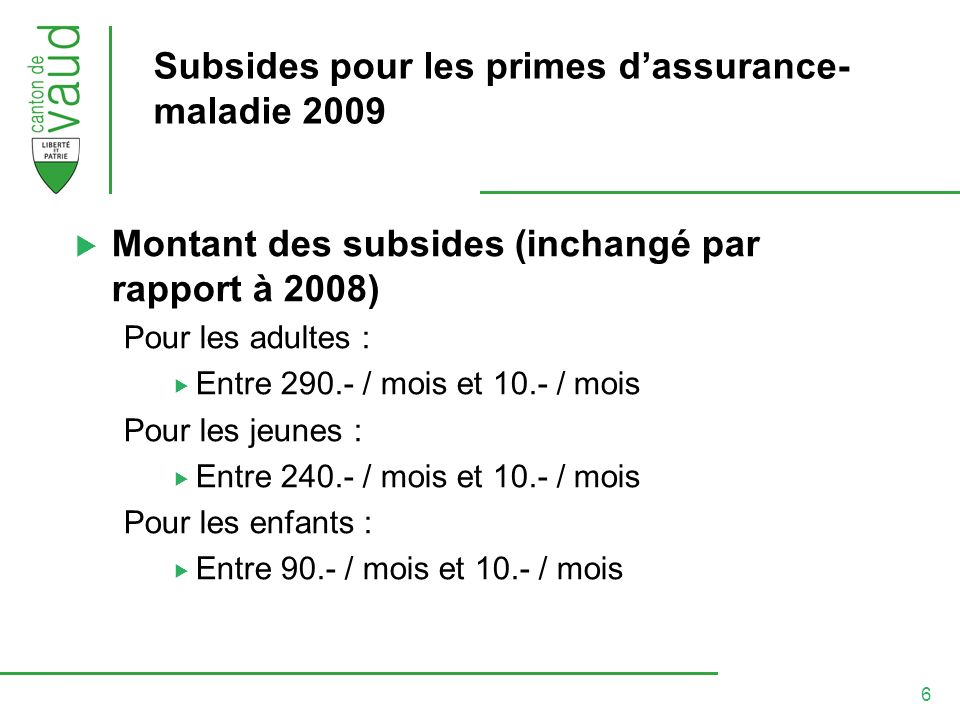 7 Subsides pour les primes dassurance- maladie 2009 Quelques situations a.) Personne seule, revenu « ch.