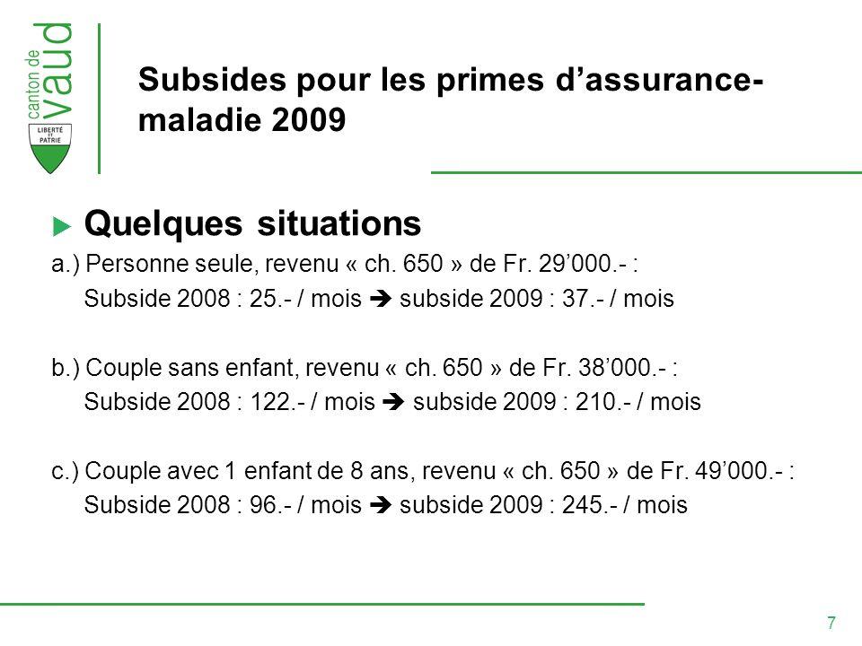 8 Subsides pour les primes dassurance- maladie 2009 Quelques situations (suite) d.) Couple avec 2 enfants (11, 13 ans, revenu « ch.