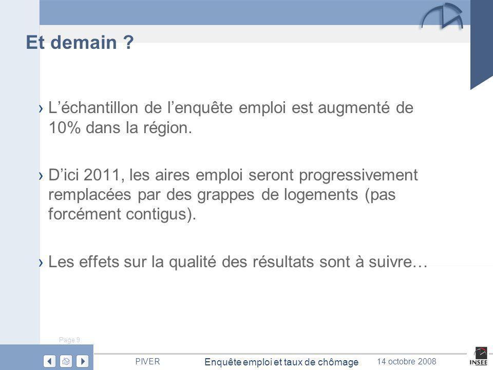 Insee Nord-Pas de Calais PIVER 14 octobre 2008 Enquête emploi en continu et taux de chômage