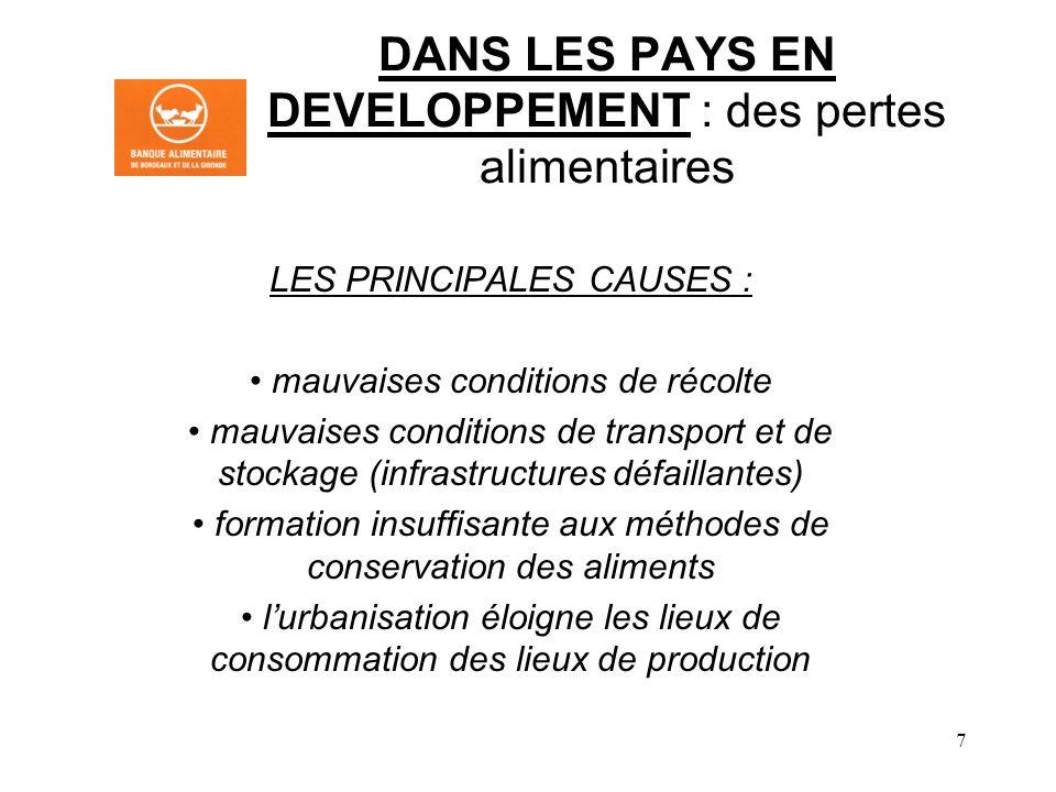8 LES 3 PRINCIPAUX ACTEURS DU GASPILLAGE DANS LES PAYS DEVELOPPES 1.LINDUSTRIE AGRO-ALIMENTAIRE ET LA GRANDE DISTRIBUTION 2.LA RESTAURATION COLLECTIVE 3.LES PARTICULIERS NOTA : le gaspillage au stade de la production agricole est devenu négligeable sauf en cas de crise sanitaire (ex : concombres en mai 2011)