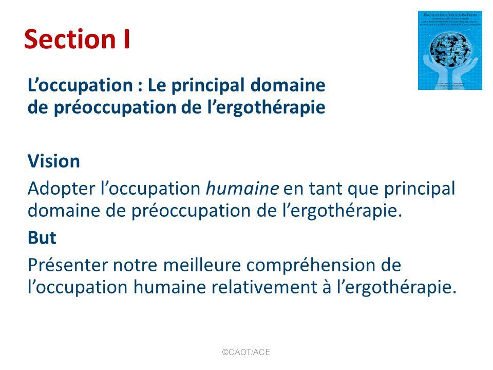 Loccupation: Le principal domaine de préoccupation de lergothérapie 1.Préciser le domaine de préoccupation : loccupation comme base Helene J.