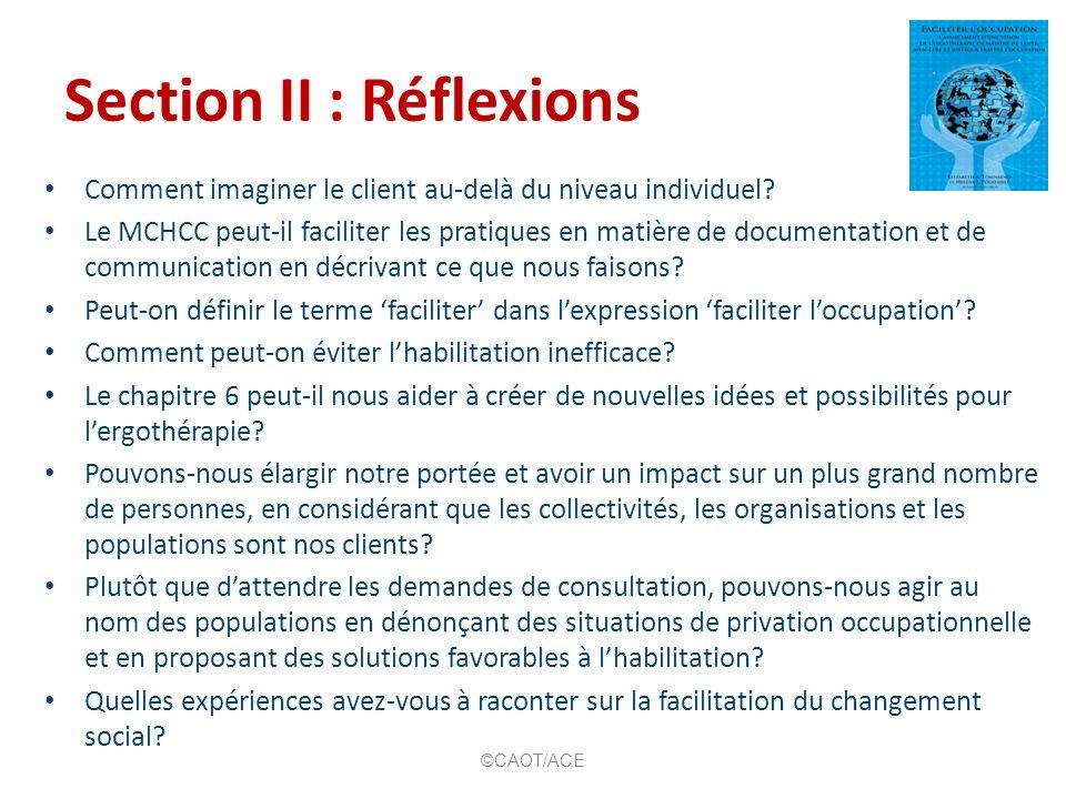 Section III Lhabilitation fondée sur loccupation Vision Permettre à nos clients de tirer profit du plein potentiel de la pratique axée sur lhabilitation de loccupation.