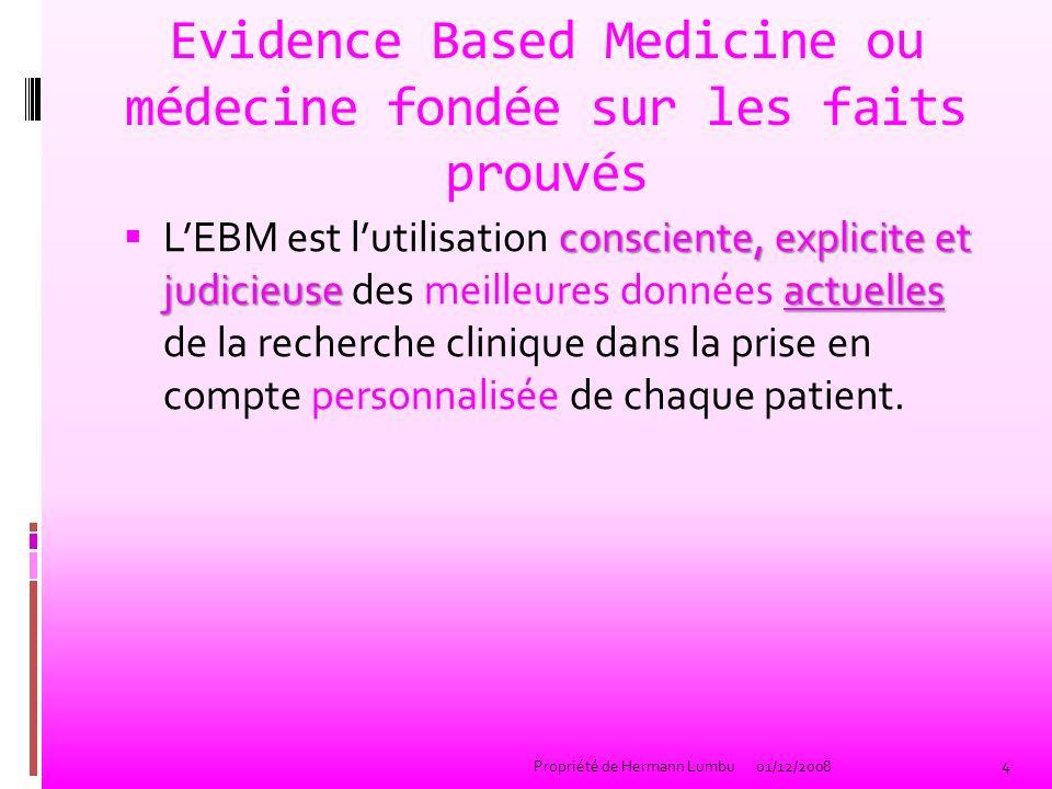 Traduction dEvidence-Based Medicine (Traduction problématique) faits prouvés Médecine fondée sur des faits prouvés basée sur des preuves Médecine fondée ou basée sur des preuves factuelle Médecine factuelle (office de la langue française) données probantes Médecine fondée sur des données probantes niveau de preuve.