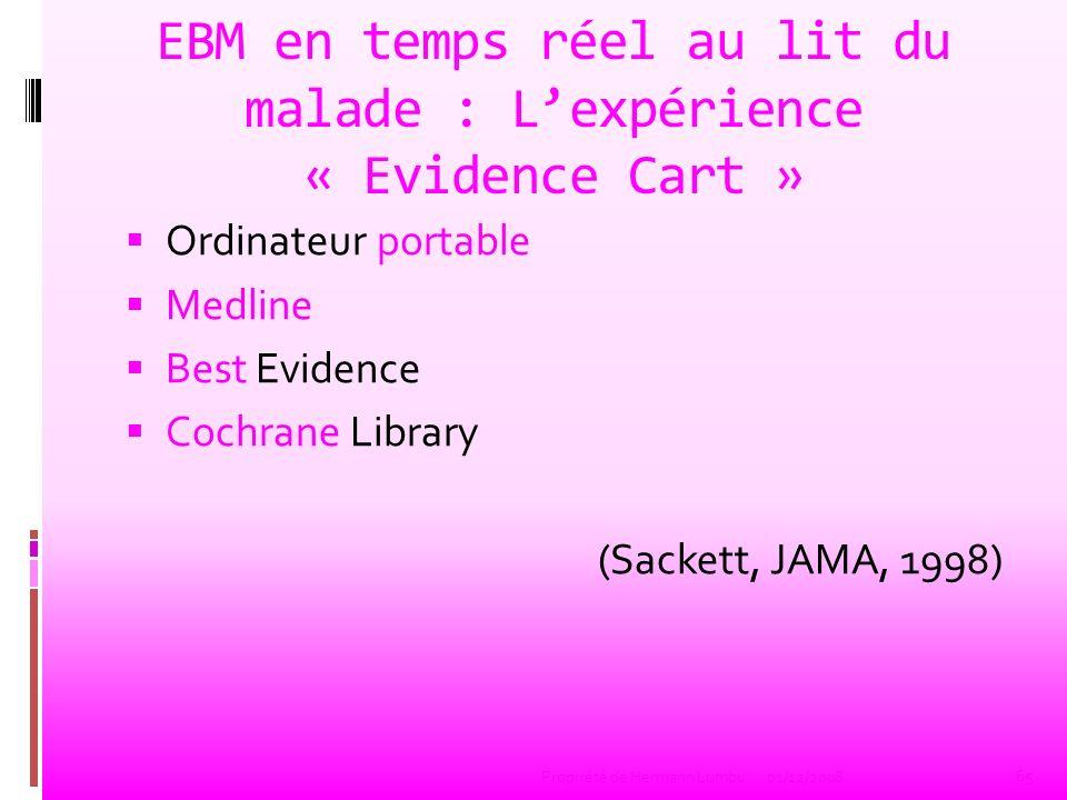 EBM au lit du malade Nombre de recherches SuccèsDélai Reedbook39 10,2 sec CATs21 11,7 sec Best Evidence9625 sec Medline1710> 90 sec Total (en 1 mois)8979 66 Propriété de Hermann Lumbu01/12/2008