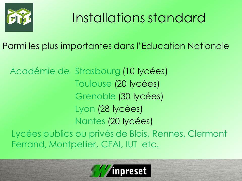 Installations spécifiques Plus de 30 installations à ce jour en France et en Europe.