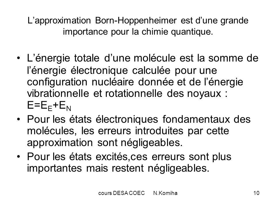 cours DESA COEC N.Komiha11 II-Fonctions donde moléculaires Spin-orbitales et déterminants de Slater Dans la théorie des orbitales moléculaires(OM),la fonction donde totale est obtenue à partir des fonctions décrivant les électrons individuellement dans le champ crée par les autres électrons et par les noyaux.