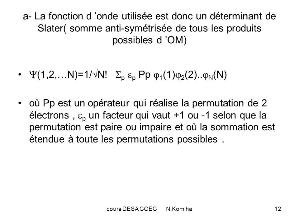 13 Ce déterminant s écrit aussi : Une fonction de cette forme tient compte des propriétés fondamentales d un système d électrons : indiscernabilité et anti-symétrie.C est la représentation la plus simple du principe de Pauli : le déterminant s annule si deux lignes sont identiques c.à.d.