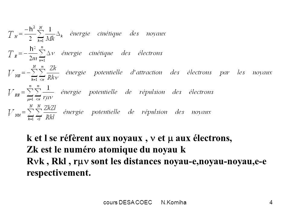 cours DESA COEC N.Komiha5 Tout comme l Hamiltonien, la fonction d onde doit dépendre des coordonnées électroniques (r) et nucléaire (R): (r,R) ce qui complique considérablement la résolution de l équation de Schrödinger d où l utilisation de l approximation Born-Oppenheimer.