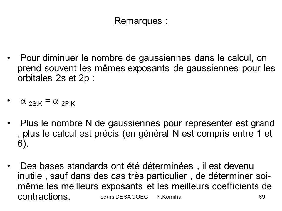 70 III-Bases standard : Ce sont des bases de gaussiennes contractées.