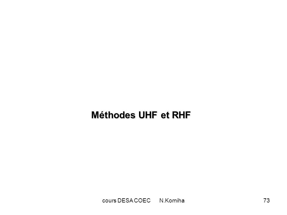 74 Les spin –orbitales sont considérées, jusque là, comme le produit dune partie spatiale i(r) et dune fonction de spin : i = i(r) Dans une application stricte de la méthode Hartree-Fock appelée UHF (Unrestricted Hartree-Fock),on calcule autant de spin-orbitales quil y a délectrons.