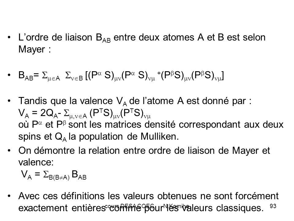 cours DESA COEC N.Komiha94 Exemples : B C-C B C-H V C C 2 H 6 0.93 0.97 3.89 C 6 H 6 1.42 0.97 3.89 C 2 H 4 1.97 0.97 3.89 C 2 H 2 2.84 0.95 3.81 Lors de calculs sur CH4,NH3,H2O et HF les valences de 3.87,2.88,1.91 et 0.92 sont respectivement obtenues pour les atomes C,N,O,F, valeurs proches des valeurs classiques entières.