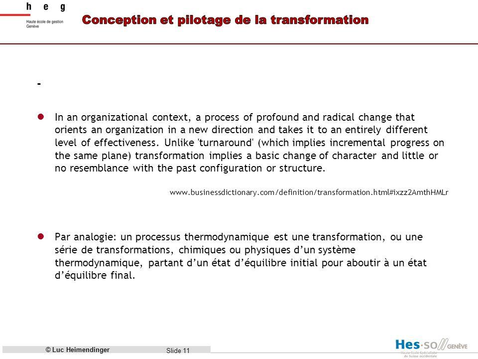 Slide 12 Donc, pour changer, il faut chauffer! © Luc Heimendinger