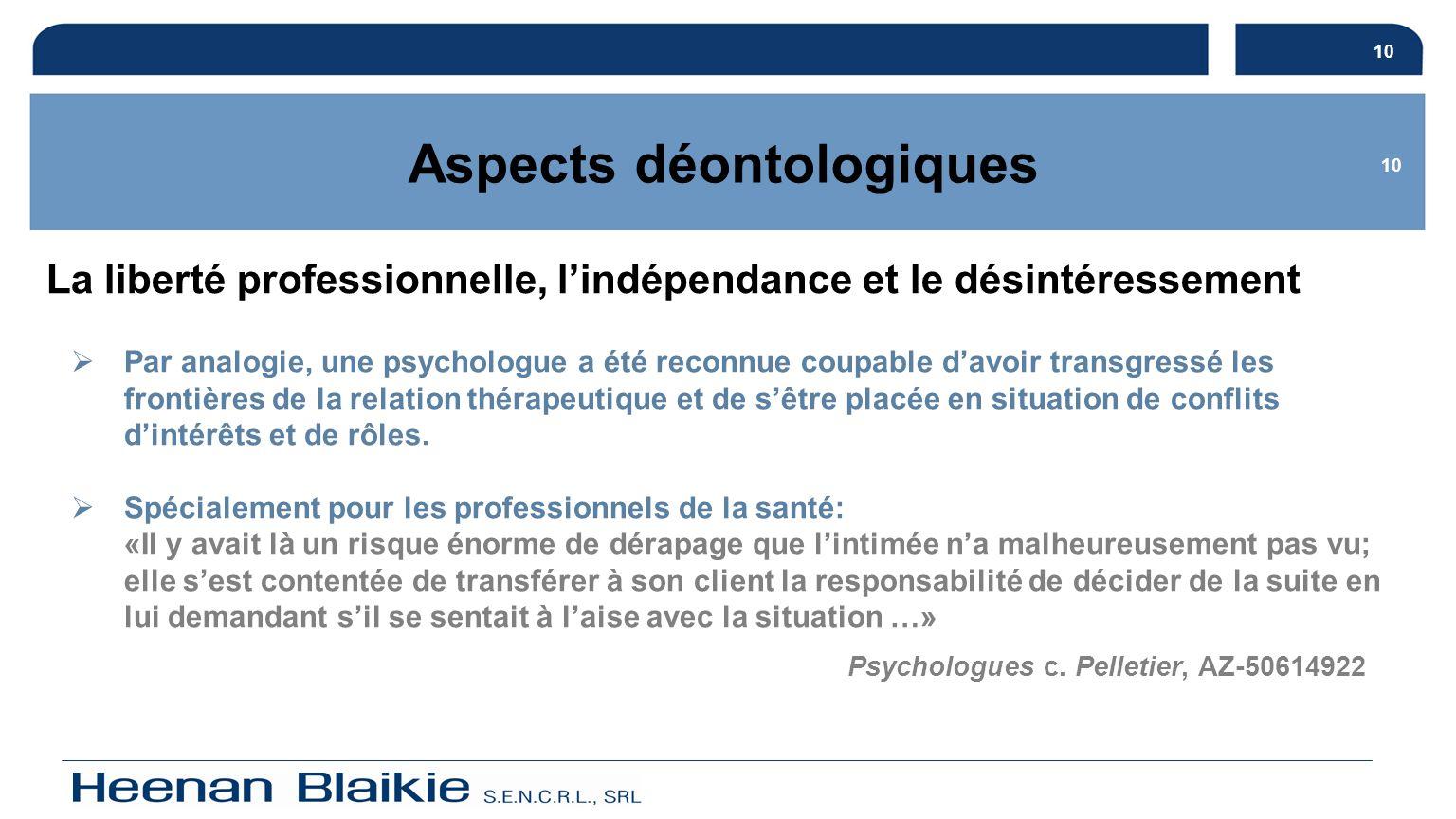11 Aspects déontologiques La publicité et les déclarations publiques Art.