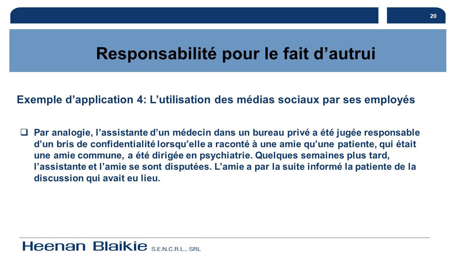 21 Responsabilité pour le fait dautrui Exemple dapplication 4 (suite): Quant à la réclamation contre le médecin, celle-ci a été rejetée.