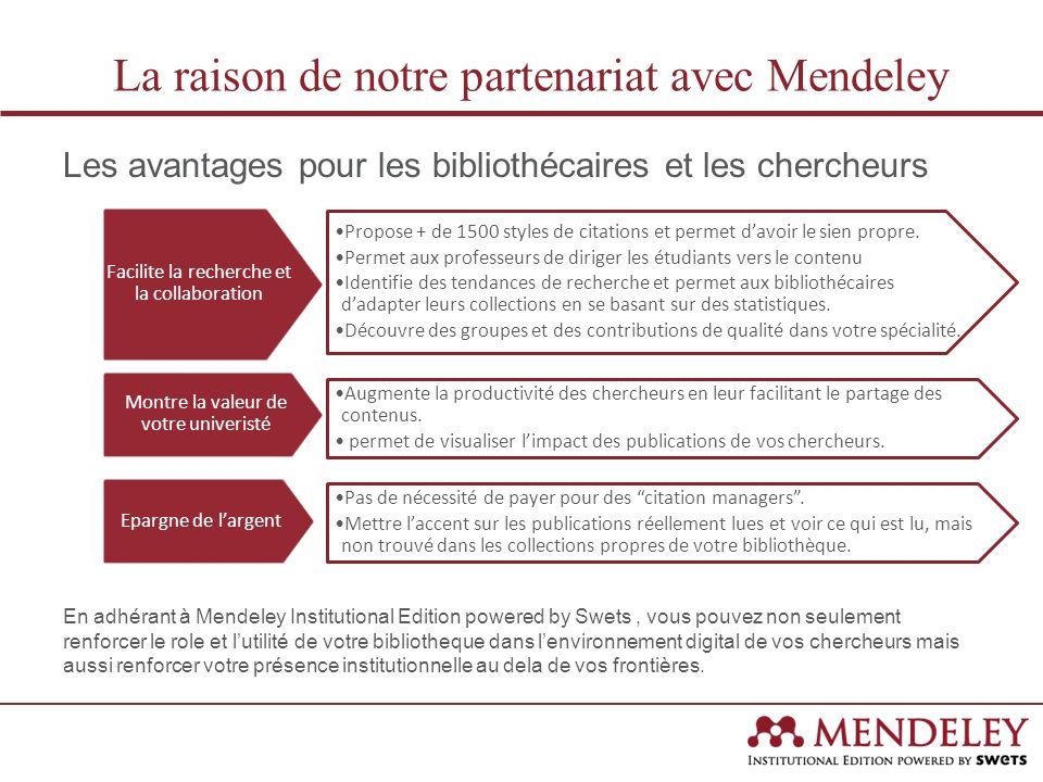 En 2012, Swets et Mendeley ont conclu un partenariat strategique pour lancer MIE avec comme objectif principal de donner aux administrateurs de bibliothèques et centres de documentation une vision globale de lutilisation de leurs ressouces dans leur institution et davoir un role central dans le pilotage de la connaissance.