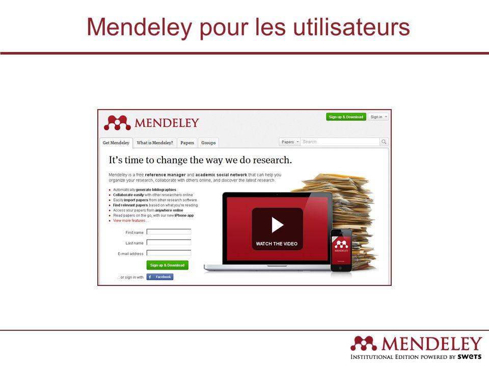 Mendeley pour les utilisateurs Un outil de référence – Génère des citations et des notices bibliographiques en Microsoft Word, OpenOffice, et LaTeX.