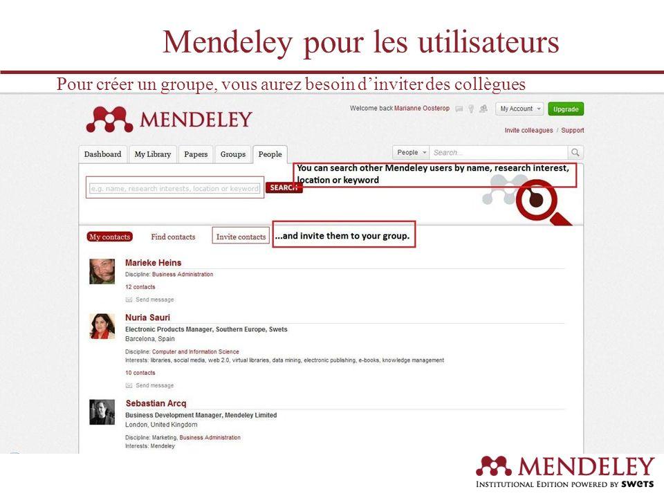 Avec ces personnes, vous pourrez partager des documents Mendeley pour les utilisateurs