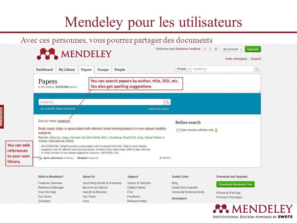 Avec ces documents, vous pourrez alimenter votre bibliothèque virtuelle… Mendeley pour les utilisateurs
