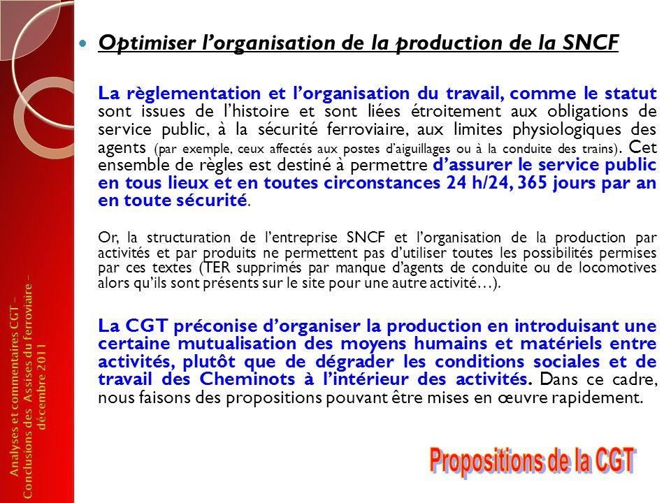 Pour les TER, la CGT propose une nouvelle étape de régionalisation et de conventionnement : Avec plus de partenaires Au regard du fonctionnement actuel du système ferroviaire, les conventions régionales doivent impliquer lensemble des parties prenantes (lÉtat, la SNCF en tant quexploitant et gestionnaire de linfrastructure, la Région), lAssociation des Régions de France doit siéger au Conseil dAdministration de la SNCF.