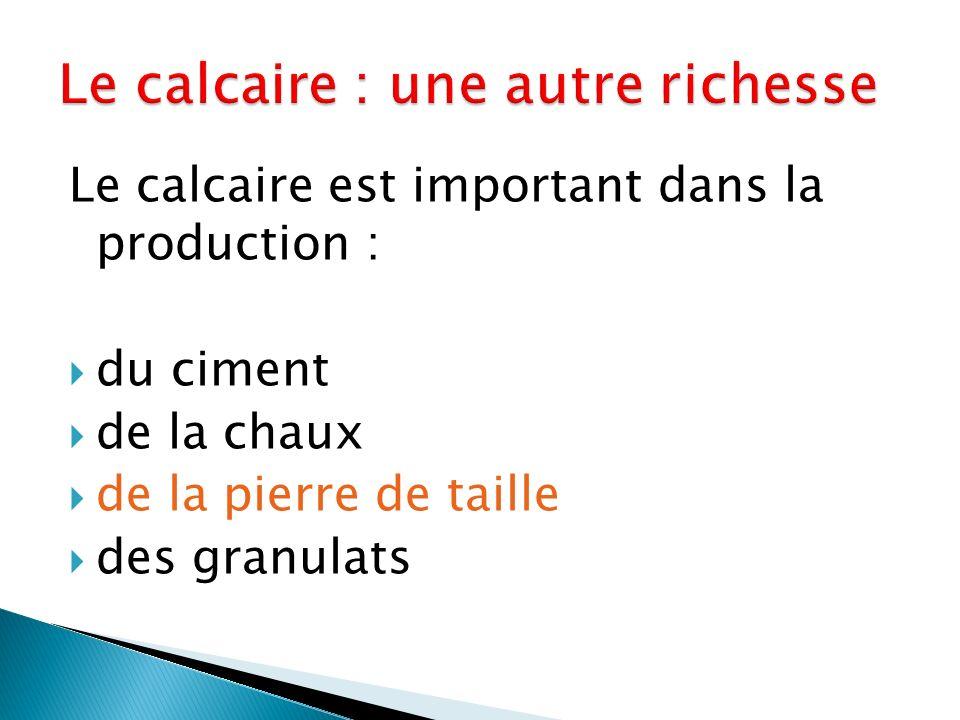 Le calcaire est important dans la production : du ciment de la chaux de la pierre de taille des granulats