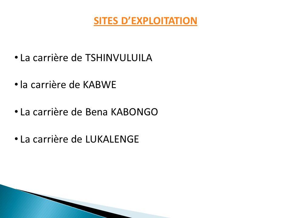 SITES DEXPLOITATION La carrière de TSHINVULUILA la carrière de KABWE La carrière de Bena KABONGO La carrière de LUKALENGE