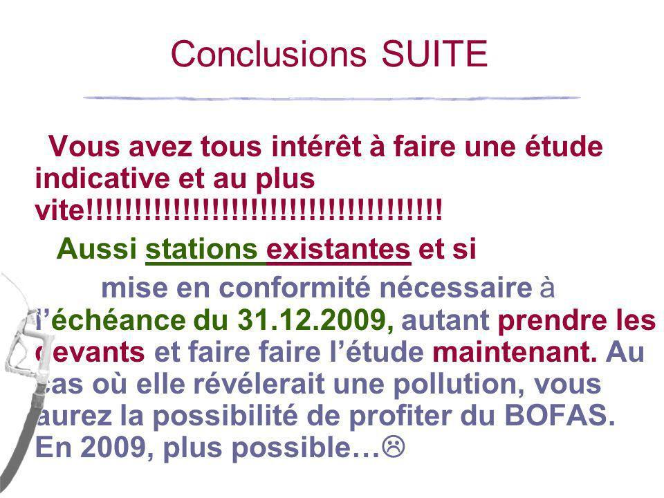 PS: Durée validité étude indicative Art 681bis/64§3 « Lexploitant nest pas tenu de faire procéder à létude indicative prévue obligatoirement (…)si une étude indicative a été effectuée dans les 2 ans qui précèdent lobligation et quaucune nouvelle pollution nest suspectée depuis.