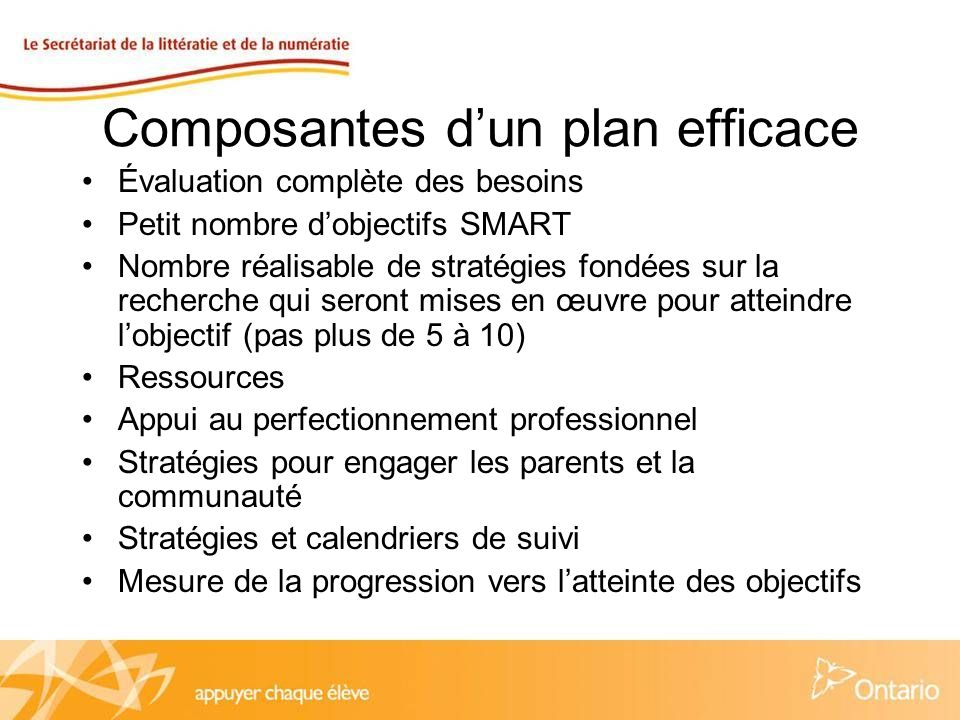 Objectifs SMART Stratégiques et spécifiques – Avez-vous articulé précisément ce que vous voulez accomplir et avez-vous choisi stratégiquement des priorités en fonction dune évaluation complète des besoins.