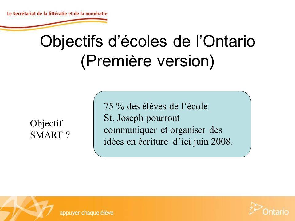 Objectifs décoles de lOntario (Première version) Dici juin 2008, 70 % de nos élèves pourront fournir des réponses qui démontrent des habiletés de la pensée critique (inférences) en lecture telles que mesurées par des évaluations écrites (3 e -8 e ) et orales (Mat.-2 e ).
