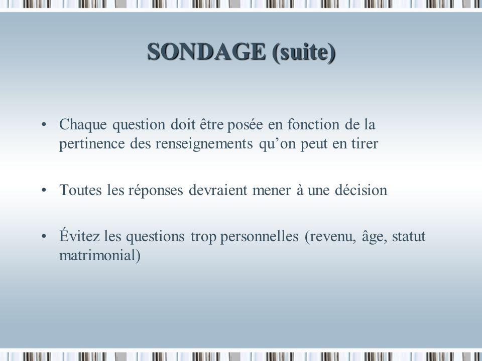 SONDAGE (suite) Au besoin, gardez un espace pour y inscrire une description personnelle de certaines caractéristiques du répondant: Sexe Âge Ton, allure Comportement