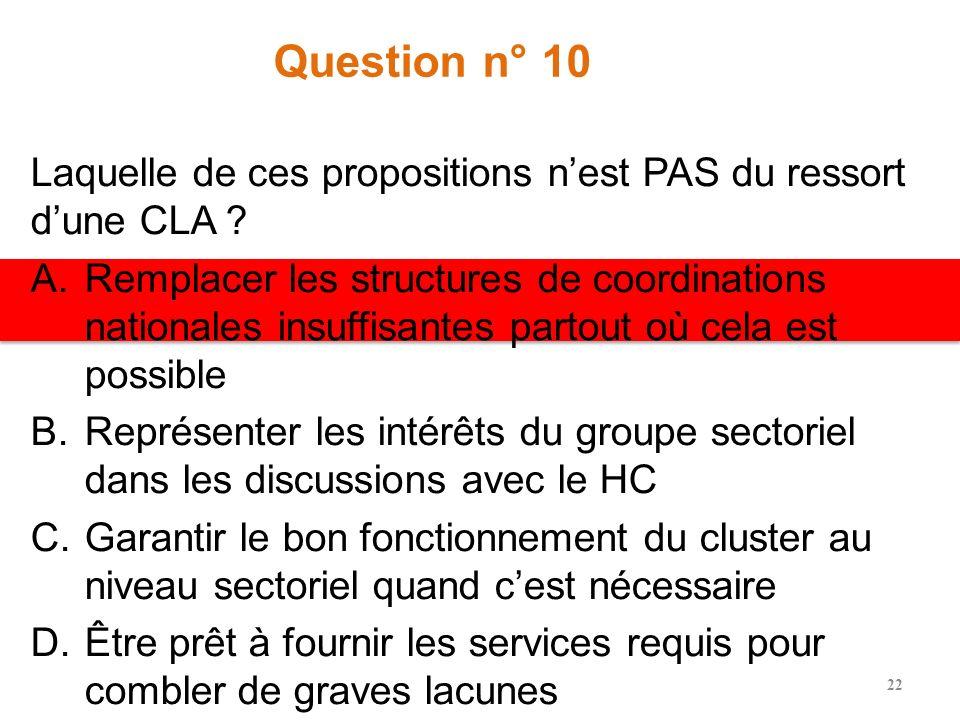 Question n° 10 Laquelle de ces propositions nest PAS du ressort dune CLA .