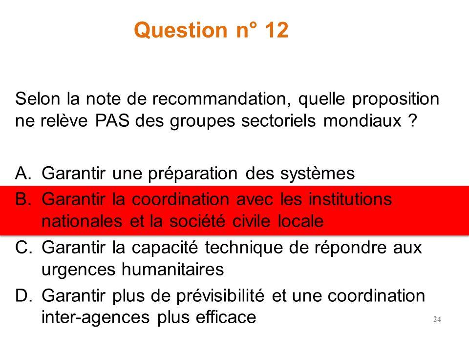 Question n° 12 Selon la note de recommandation, quelle proposition ne relève PAS des groupes sectoriels mondiaux .