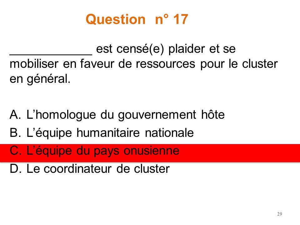 Question n° 17 ____________ est censé(e) plaider et se mobiliser en faveur de ressources pour le cluster en général.