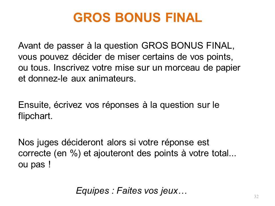 GROS BONUS FINAL Avant de passer à la question GROS BONUS FINAL, vous pouvez décider de miser certains de vos points, ou tous.