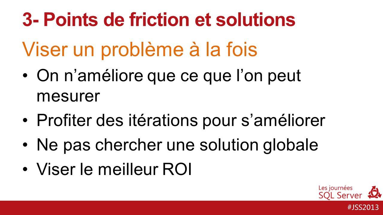 #JSS2013 Une solution : lintégration continue Tracer les changements Intervenir tôt pour échouer tôt La qualité est laffaire de tous 3- Points de friction et solutions