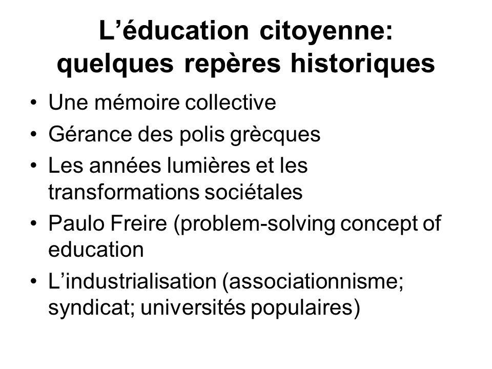 Léducation citoyenne: LEtat providence, une période contre-productive.