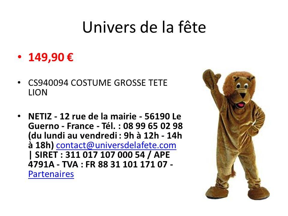 Festiveo.com 185 Choix d un modèle Taille : 1m60 / 1m90 Quantité : EN STOCK - Délai de livraison : 8 à 10 jours Descriptif du produit Magnifique mascotte composée d une combinaison, d une tête et d une paire de gants.