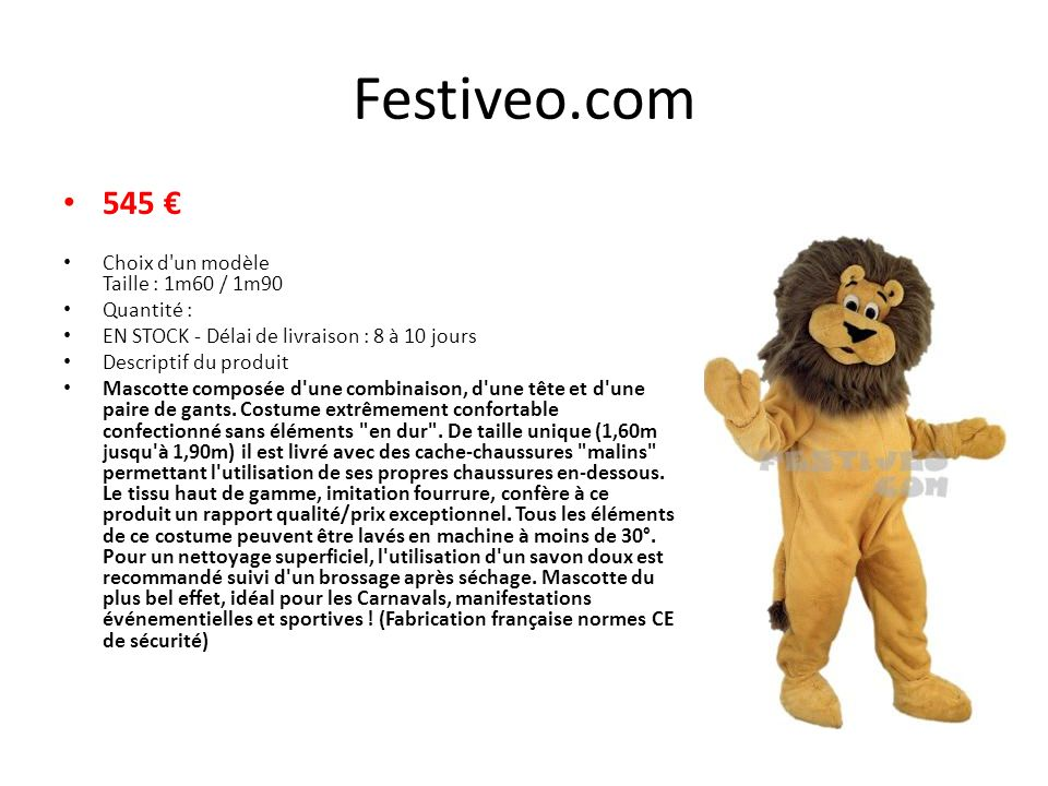 780,00 Mascotte lion. Taille unique de 1,60 m à 1,90 m 116 b big-deguisement.com