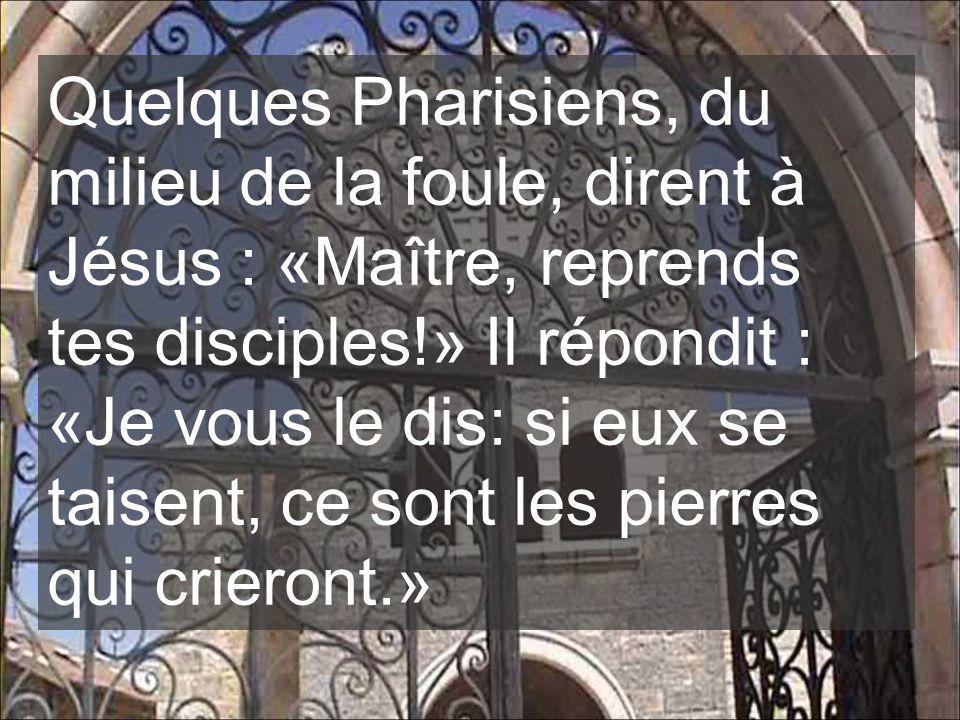 Quelques Pharisiens, du milieu de la foule, dirent à Jésus : «Maître, reprends tes disciples!» Il répondit : «Je vous le dis: si eux se taisent, ce sont les pierres qui crieront.»