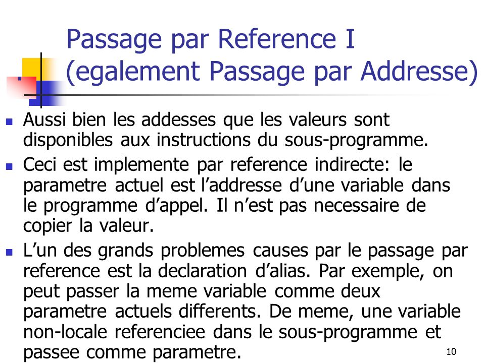 11 Passage par Reference II.