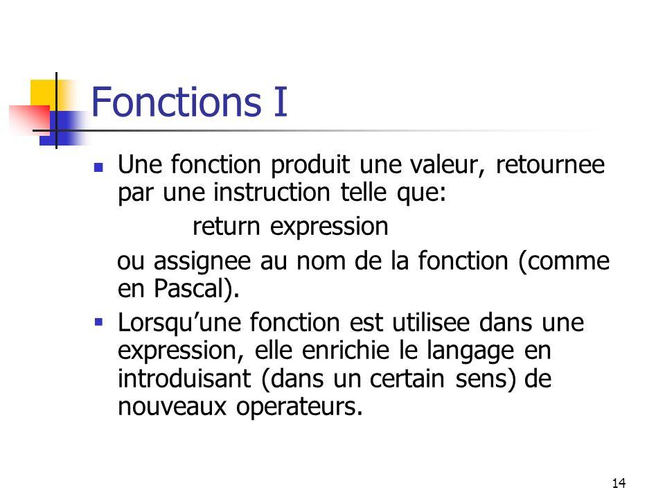 15 Fonctions II Les effets secondaires dans les fonctions sont problematiques.