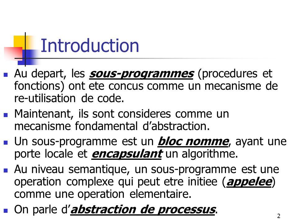3 Elements dun Sous- Programme I Un sous-programme: est defini grace a des operations de plus bas niveau, a un nom, a une methode qui lui permet daccepter des arguments et de delivrer des resultats (passage de parametres et communications a travers des objets non-locaux).