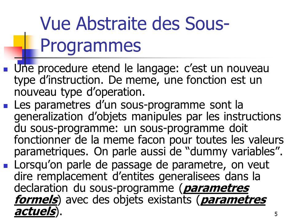 6 Passage de Parametre Le mode de passage dun parametre determine: 1.