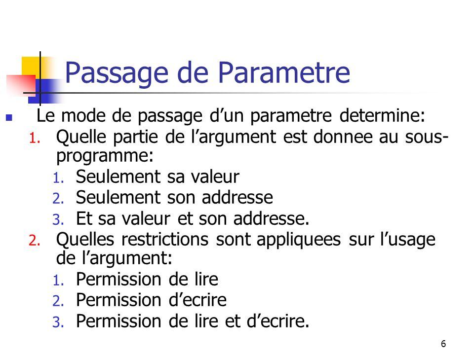 7 Passage par Valeur Seule la valeur du parametre est donnee au sous- programme.