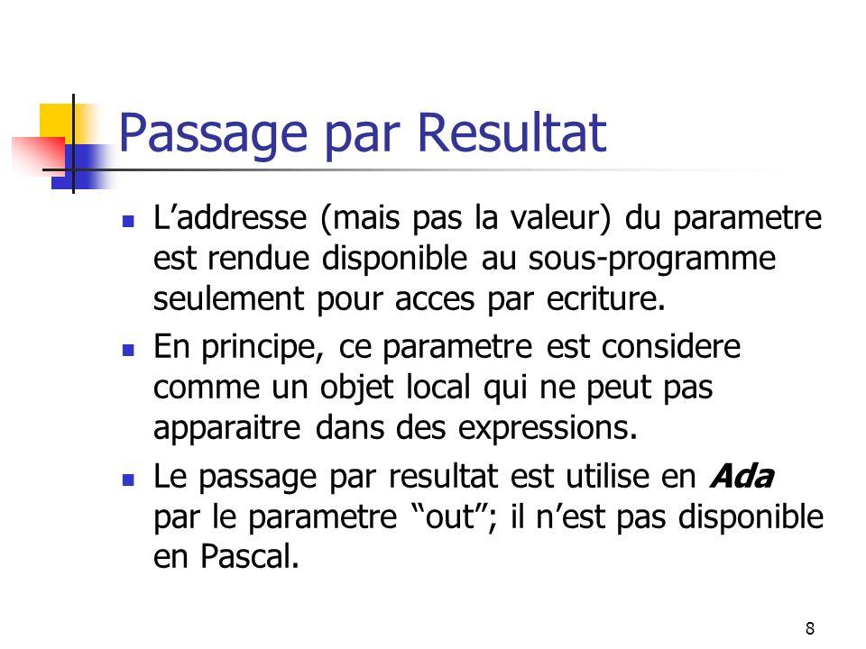 9 Passage par Valeur-Resultat (egalement: Passage par Copie) Lorsque le sous-programme est active, la valeur du parametre est copie dans un objet local.