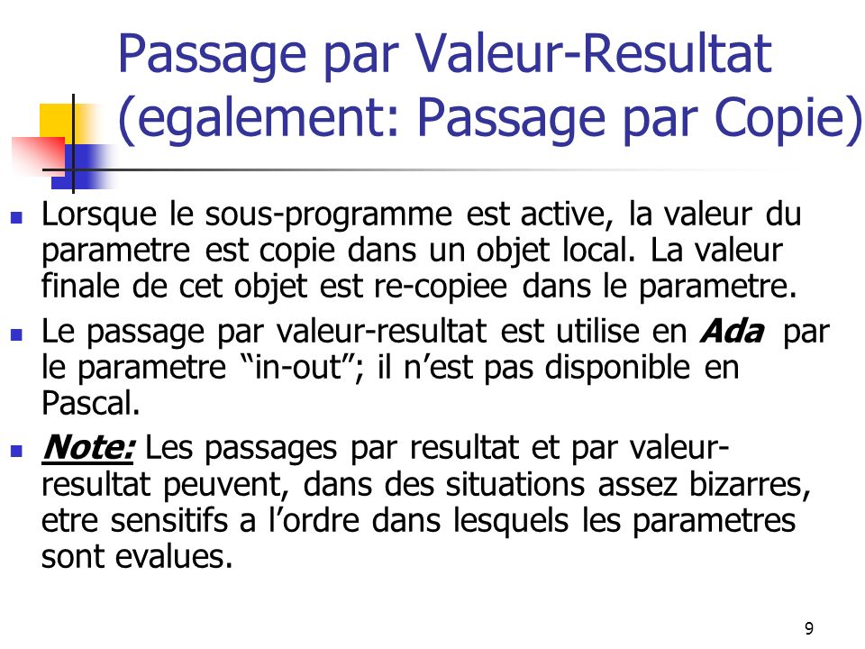 10 Passage par Reference I.